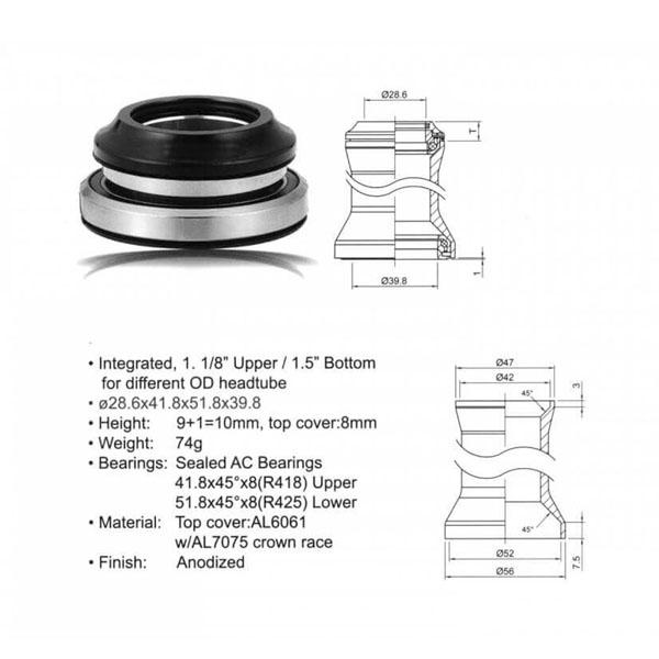 Комплект рулевых подшипников Author ACO - HS40